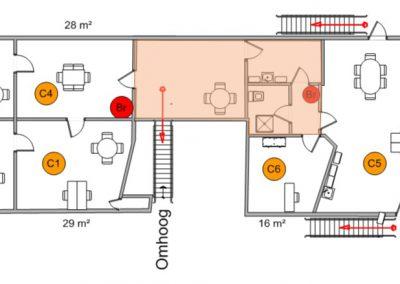 Plattegrond boven verdieping Celsiusstraat C1 en C2 zijn verhuurd.