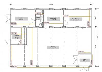Platttegrond-kantoorschuur